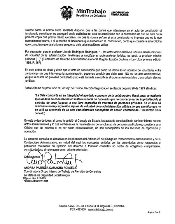 Acta de Conciliación no es un Acto Administrativo: Ministerio de ...