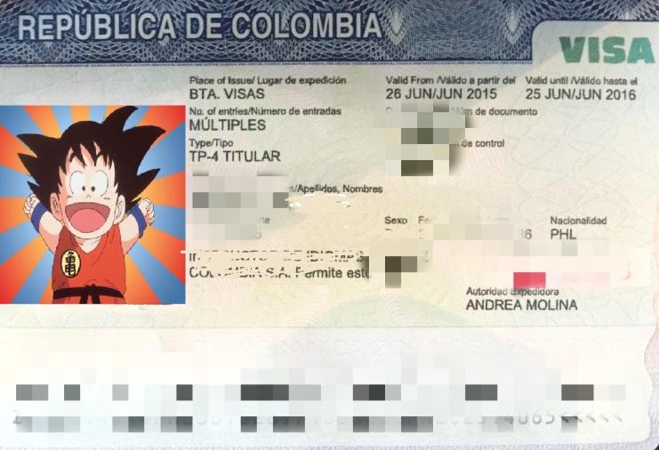 Visa colombiana Gokú.jpg