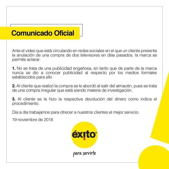 comunicado oficial Almacenes Éxito compra televisor 90% descuento